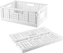 1-Pack Crates Baskets , Stacking Folding Storage Baskets Plastic for Shelf Home Kitchen Storage Bin Organizer, Shelf Organ...