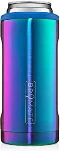 BrüMate Hopsulator Slim Double-walled Stainless Steel Insulated Can Cooler for 12 Oz Slim Cans (Rainbow Titanium)