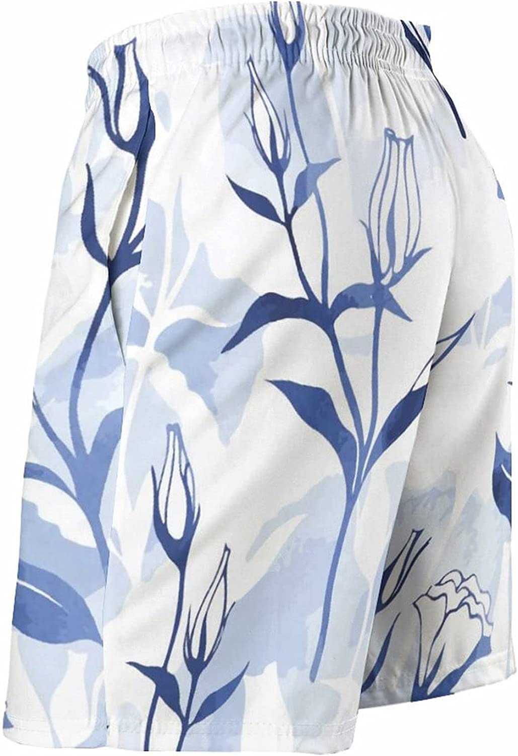 by Unbranded Men's Quick Dry Relaxed Fit Drawsting Board Shorts Flower Pattern