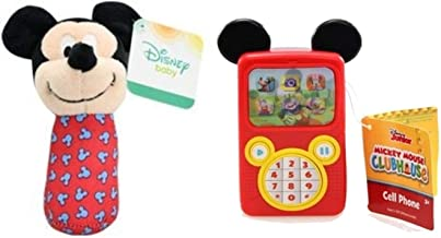 Needzo Disney Mickey Mouse Fake Toy Cell Phone Bundle with Mickey Rattle