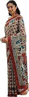 Pure Cotton Indian Handcrafted Kalamkari Print Saree Blouse Formal Woman Occasional Sari 6321