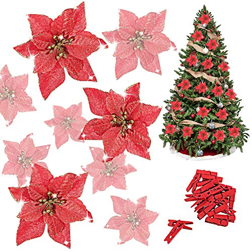 Whaline 24 Pcs Red Poinsettia Artificial Christmas Flowers with 24 Pack Clips, Glitter Christmas Tree Ornaments Xmas Wedding Party Decor (13 x 13 cm)