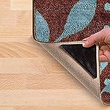 Foxnovo 15*7.5cm Reusable Triangle-shaped Anti-skid Rubber Floor Carpet Mat Rug Gripper Stopper Tape Sticker - 4 pcs/set (Black)