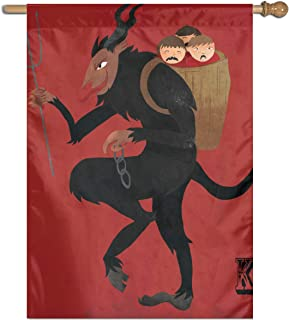 MINIOZE Merry Krampus Christmas Red Themed Welcome Extra Big Large Jumbo for Outdoor Outside Decorations Ornament Picks Garden Yard Traditional Decorative Front 27