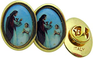 Girls First Holy Communion Brass Tone Lapel Pin, Bulk Set of 6