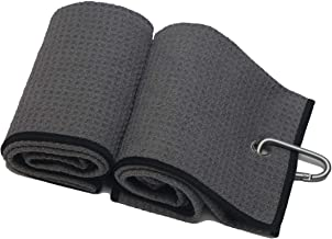 """zsbravholde Tri-fold Golf Towel(2 Pack) Large Size for 16""""x24"""" with Carabiner Clip