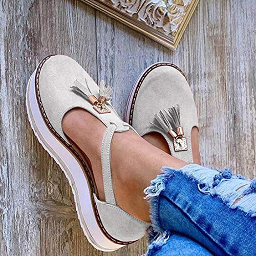 EVR Sandalias Planas Cuña para Mujer Verano 2020 Zapatos Piel Chanclas Zapatillas Casual Cómodas Caminar Fiesta de Playa al Aire Libre Transpirable Antideslizante Mula Zapatos de Viaje,Light Gray,35