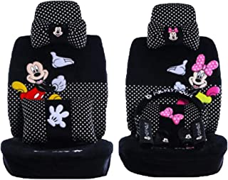 Maimai88 2019 New 1 Set of Cute Cartoon Mickey Mouse Universal car Cover Super Soft Four Seasons Cartoon car seat Cover Accessories car (Black dot 803)