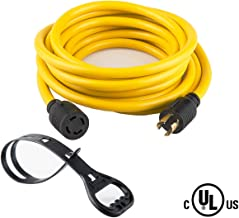 40FT Heavy Duty Generator Locking power cord NEMA L14-30P/L14-30R,4X10 Gauge SJTW Cable, 125/250V 30Amp 7500 Watts Yellow Generator Lock Extension Cord With UL listed Yodotek
