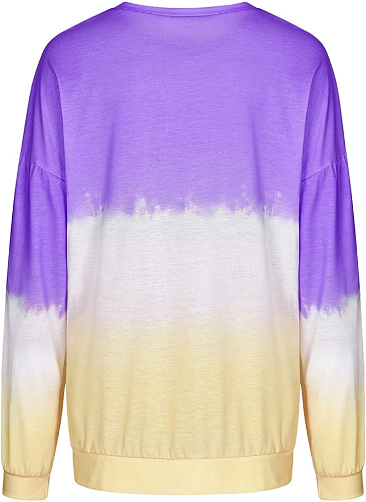 F/_topbu Sweatshirt for Women Gardient Dandelion Print Long Sleeve Crewneck Pullover Tops Color Block Blouse Tunic Tops Blouse