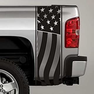 Jeepazoid SkunkMonkey - Truck Bed Stripe Decal - American Flag Universal Fit - Black Sticker - (Pair - Left and Right)