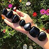 Zenkeeper 7 Pcs Large Black Obsidian Tumbled Stone, Black Obsidian Tumbled Crystals Bulk for Crystal Healing, Decoration, Reiki, Chakra
