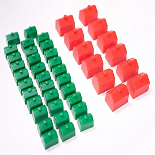 Monopoly Replacement Pieces: Houses & Hotels: Game Set of Plastic Monopoly Green House and Red Hotel Replacements