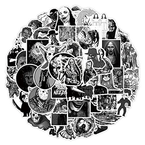 50 Piezas Blanco Y Negro Mezcla De Personajes De Películas De Terror Pegatinas DIY Monopatín Nevera Guitarra Viaje Divertido Pegatina De Dibujos Animados Juguete