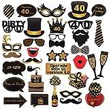 40th cumpleaños Photo Booth Props para Funny Dirty 40th Birthday Birthday and Black Decorations Suministros para Fiestas, Decoraciones y favores (35 Piezas) (40 Cumpleaños)