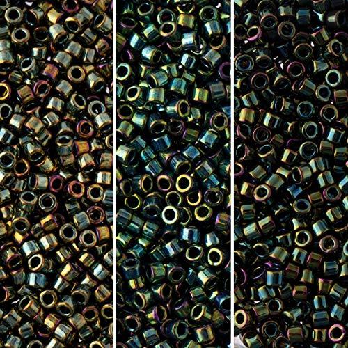 Miyuki Delica Seed Beads Bundle: Size 11/0, Palette Collection DB3, DB24, DB27, 7.2 Grams, 3 Tubes
