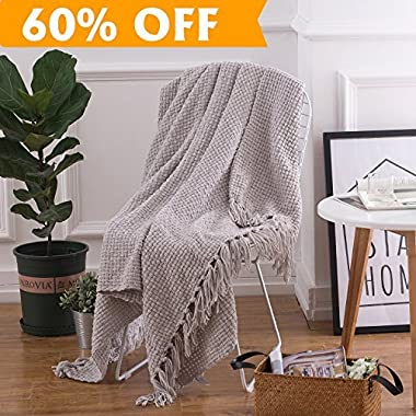 PERSUN Lightweight Throw Blanket Light Grey Soft Plush Microfiber Sofa Couch Knit Blankets with Fringe