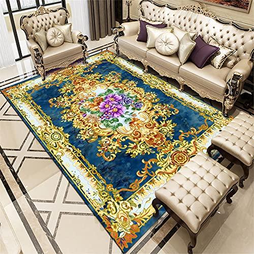 Alfombra Entrada Casa Exterior Adornos Salon Alfombra de salón Azul de Lujo, diseño clásico, insonorizada, Suave y Lavable 160X230CM Habitaciones Matrimonio Completas