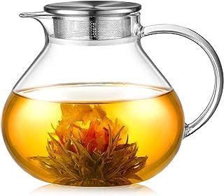 ecooe Szklany dzbanek do herbaty 1400 ml ze zdejmowanym zaparzaczem ze stali nierdzewnej 18/10 żaroodporny szklany dzbanek...