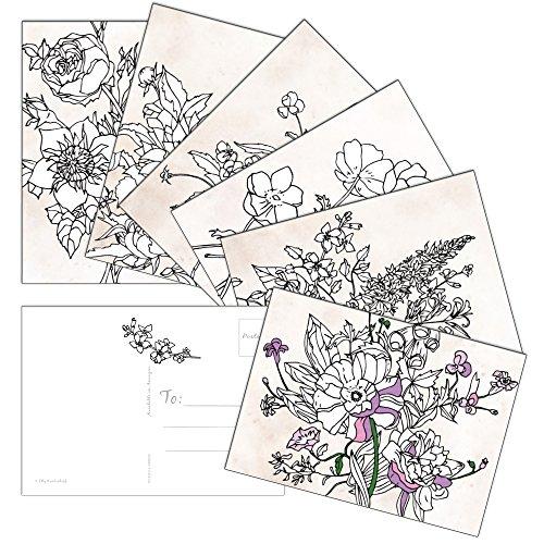 Grußkarte Cafe Thank You Postkarten Sortiment, 60 Stück, 6 Designs, Blumenmuster, 10,8 x 15,2 cm, Postkarte, Standardgröße, USPS-Stempel, Hochzeit, Baby, Brautparty, Geburtstag