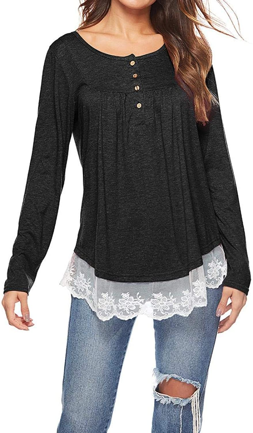 Women Autumn Casual Long Sleeve Lace Patchwork Blouse Loose Tunic Tops T-Shirt (color   Black, Size   S)