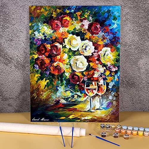 Día de rosas y vino, pintura DIY por números, paquete de pinturas al óleo, 40x50cm, imagen por números, foto de loft, dibujo para niños Pintura-por-números