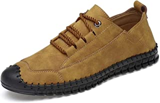 HaiNing Zheng Driving Loafer for Men Boat Moccasins Lace Up Style Microfiber Leather Individual Stitching Toe Lightweight (Color : Golden Yellow, Size : 8.5 UK)