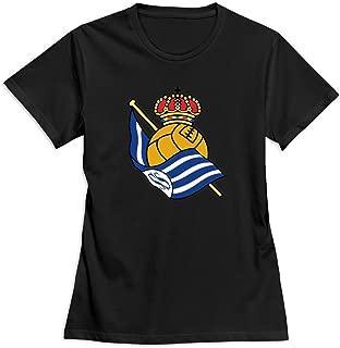 Flycro O Neck Women's Real Sociedad Logo Summer T-Shirt Size XXL Color Black