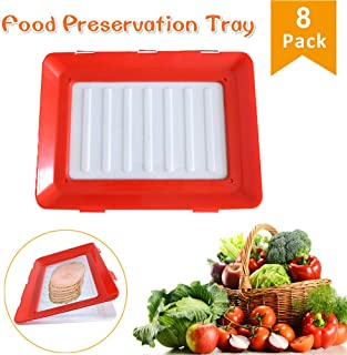 Vaughenda Food Tray Plastic Preservation Tray, Healthy Seal Food Storage Container Kitchen Tools for Vegetable, Fruits, Meat, Fish (8 Pack)