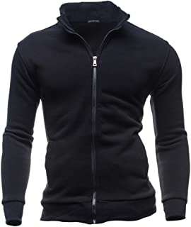 Yumso Hommes Automne Hiver Loisirs Sports Cardigan Zipper Sweats Tops Veste Manteau Sweat-Shirt Homme Manches Longues Pull...