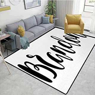 Brandonroom Carpet Widespread Name Design with Monochrome Artistic Letters Cursive Font Pattern Kitchen Rugs Area Black and White 2'x8'