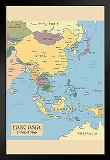 Vintage Map of East Asia Black Wood Framed Art Poster 14x20