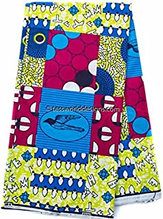Tess World Designs Quality Faux Patchwork Fabric 6 Yards African Fabric Ankara Fabric | Hollandais African Wax Print Cotton Print WP1010 (Fuchsia, Blue, and Green)