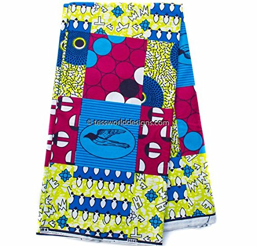 Quality Faux Patchwork Fabric 6 Yards African Fabric Ankara Fabric   Hollandais African Wax Print Cotton Print WP1010 (Fuchsia, Blue, and Green)