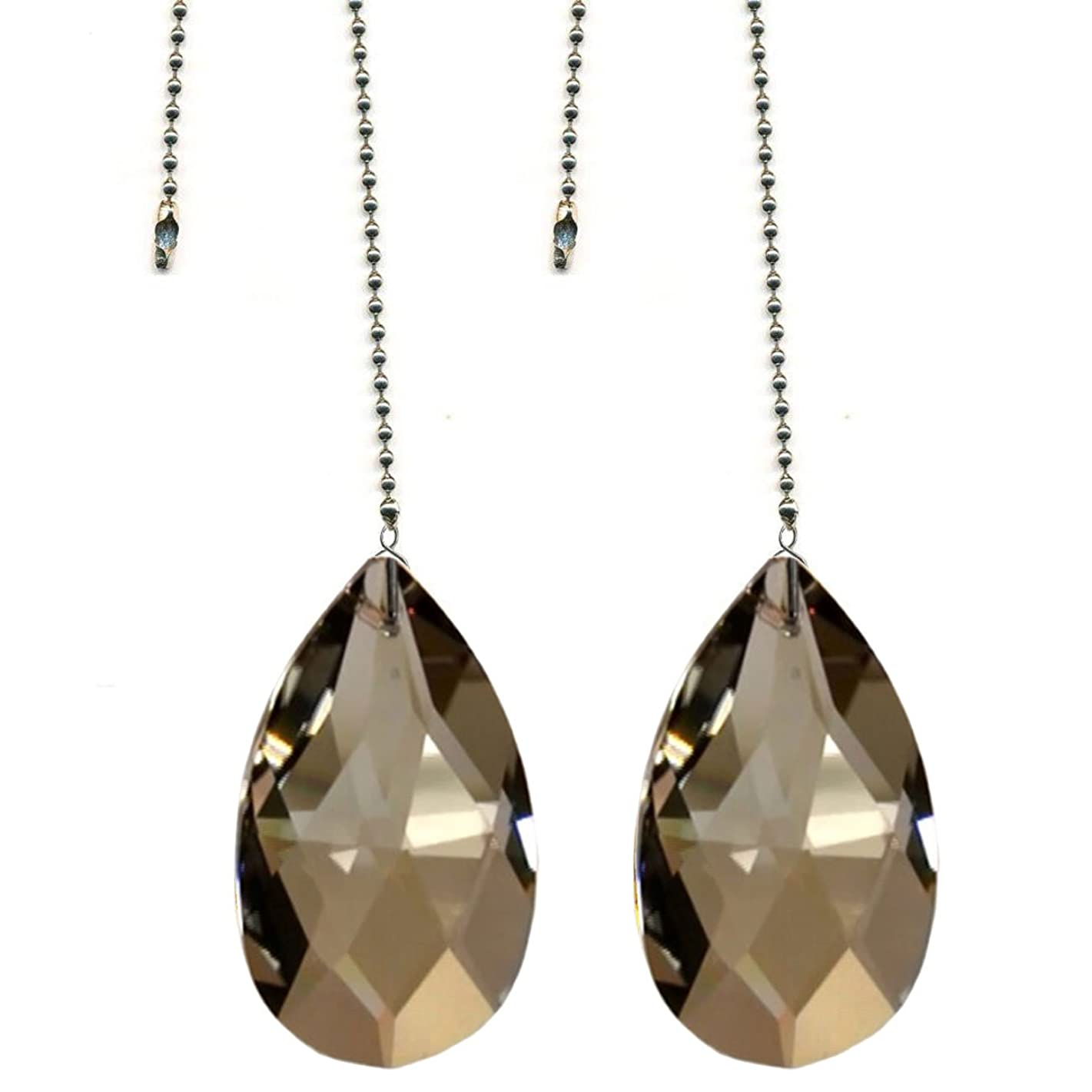 CrystalPlace Ceiling Fan Pull Chain Swarovski Strass Champagne Crystal Almond Prism Fan Pulley Set of 2