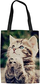 FUIBENG Fashion Canvas Tote Bags for Women Girls Ladies Lovely Animal Pattern Linen Handbag 42x34x1.5CM Cat