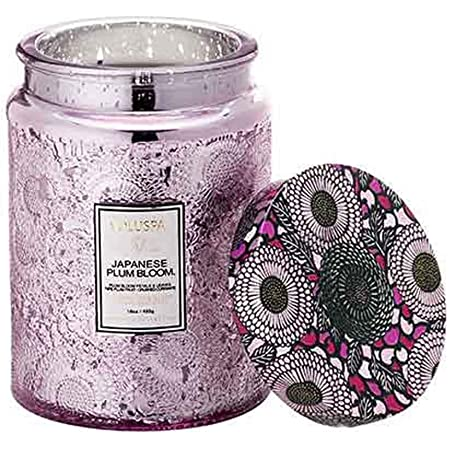 Voluspa Panjore Lychee Large Embossed Glass Jar Candle 16 Ounces Beauty