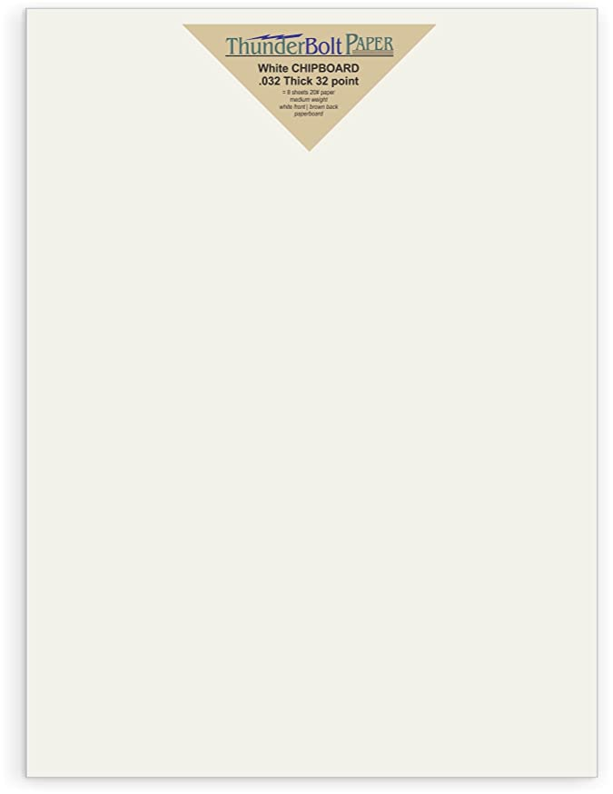 10 Sheets Chipboard 32pt White 1 Side - 9