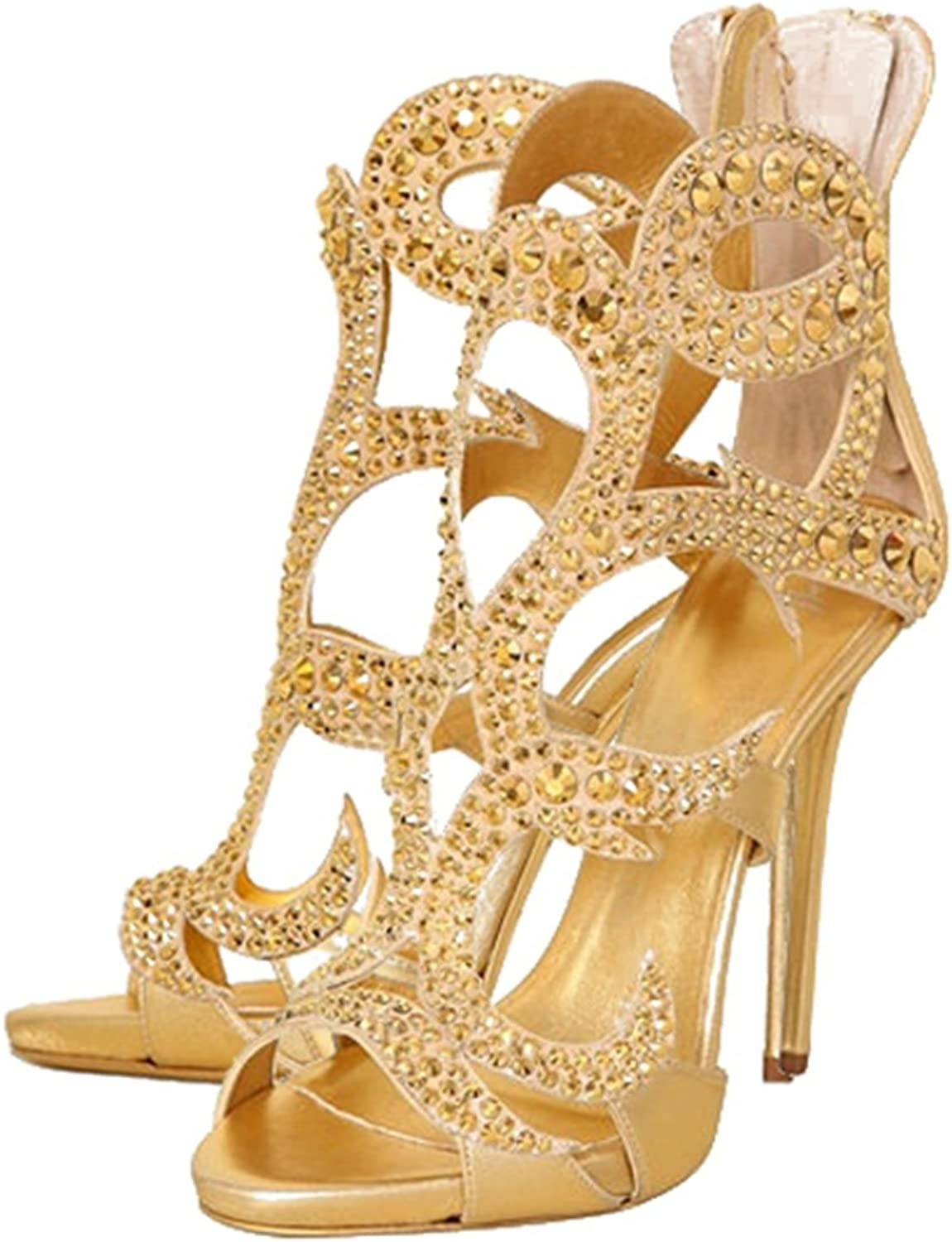 Amy Q Laides Rhinestone Open Toe Cut Out Zipper High Heel Sandals shoes for Wedding Party Dress