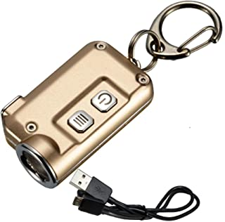 Nitecore TINI 380 Lumens USB Rechargeable Keychain Flashlight with Lumen Tactical Charging Cable - Available in 7+ Colors, Aluminum, Copper or Stainless Steel