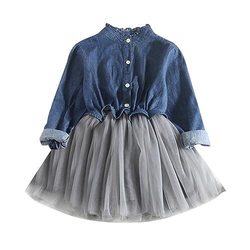 13e1ee972e2bb Aliciga デニム シャツ 女の子 長袖 袖なし ワンピース 無地 メッシュ チュールスカート ドレス 膝上丈