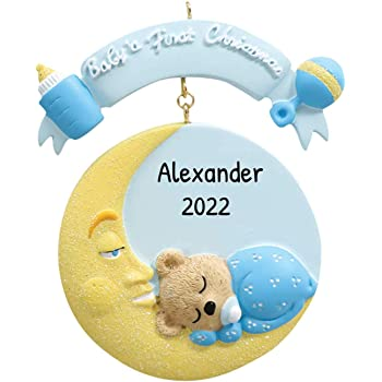 Grandsons First Christmas Ornament 2020 Amazon.com: Personalized Baby's 1st Christmas Mr. Moon Tree