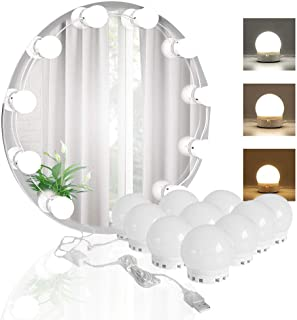 LED Vanity Mirror Lights Kit with 10pcs Dimmable Color Led Light Bulbs, Lighting Fixture Strip for Makeup Mirror and Bathroom Mirror(Mirror Not Include)