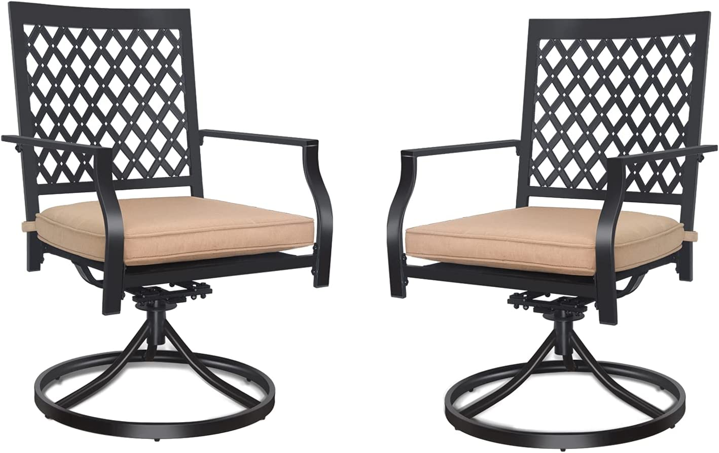 Outdoor Swivel Chairs Set of Genuine Free Shipping 2 Chair Patio Rocker Dining Metal w Los Angeles Mall