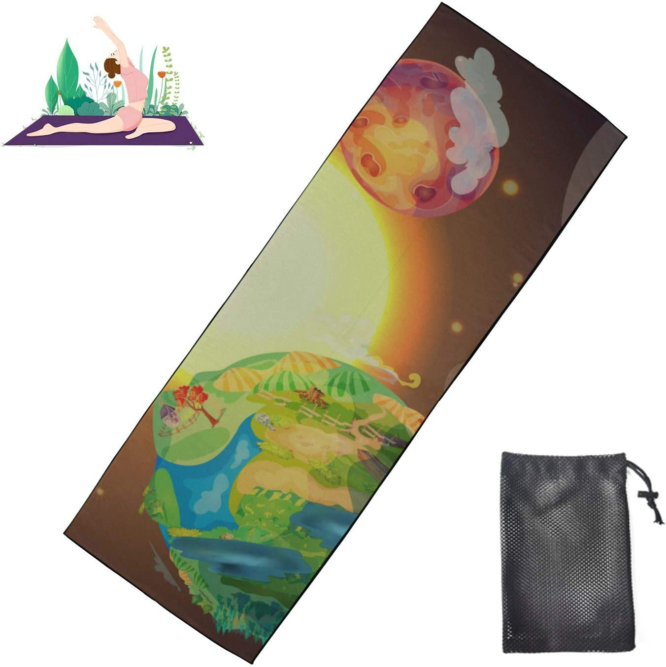HJSHG Yoga Manufacturer direct delivery Mat 25% OFF Towel Cartoon Earth Vect Template Planet Colorful