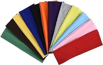 eBoot 12 Pcs Stretch Elastic Yoga Cotton Headbands Mixed Colors for Teens, Girls and Women