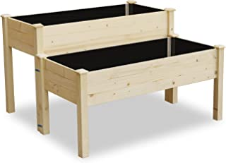 LYNSLIM Wooden 2 Tiers Elevated Raised Garden Bed Planter Box for Flower Vegetable Grow, Natural Cedar Wood Frame Gardening Planting Bed,Easy Assembly (2 Tiers Raised Beds)