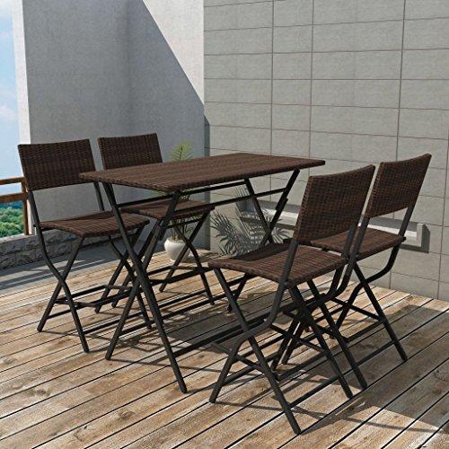 SENLUOWX Set de table et chaises hautes de jardin 5 pièces Poli rotin marron