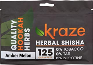 Kraze Hookah Tobacco-Free Herbal Shisha Molasses, 125g (Amber Melon)