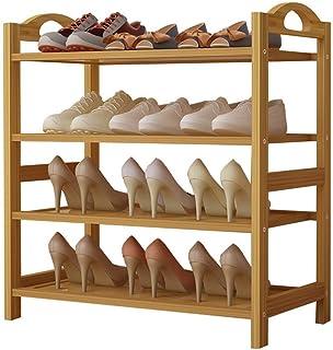 Étagères à chaussures 4 niveaux Support à chaussures en bambou Amélioré Étagère à chaussures pour organisateur de rangemen...